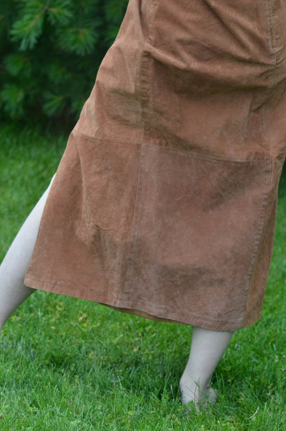 Tan Suede Leather Skirt, Vintage 1990s, Brand: Ba… - image 4