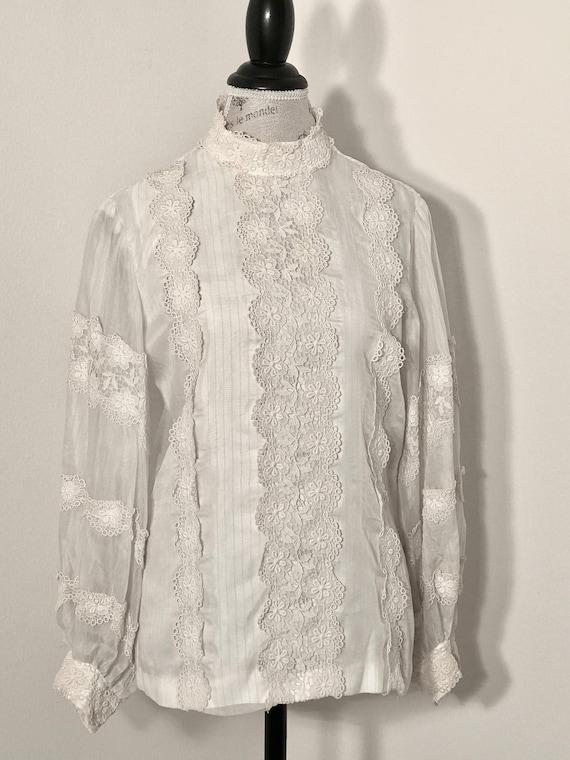 1970s Vintage Victorian Blouse