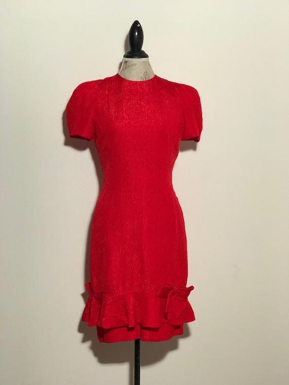 1980's Vintage Red Dress 100% Silk Designer Albert