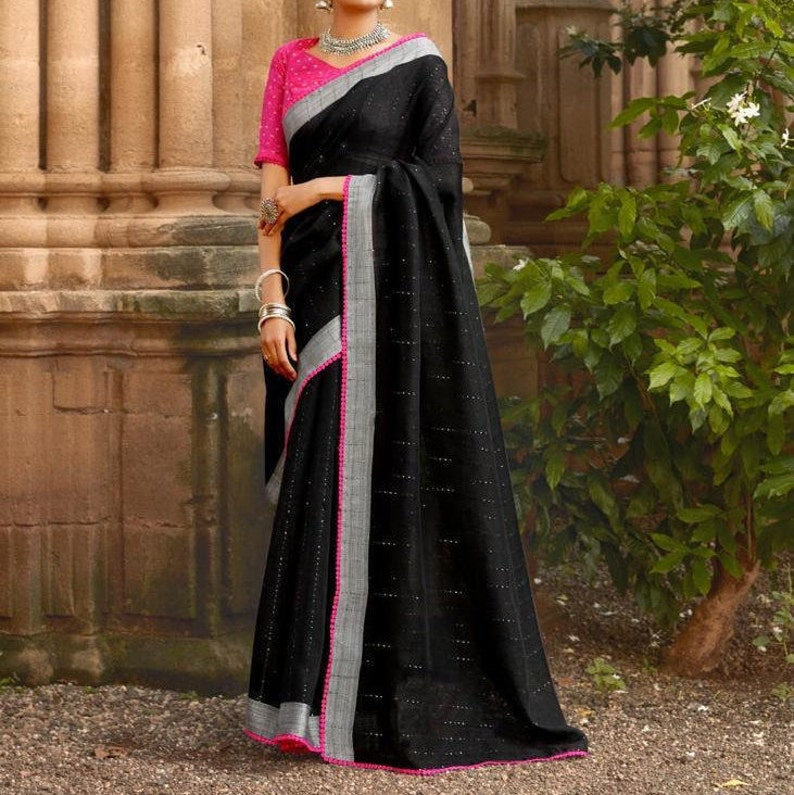 Ethnics Land Sequins Weaving Work With Blouse Piece /& Matching  Contrast Face Mask Linen Cotton Saree