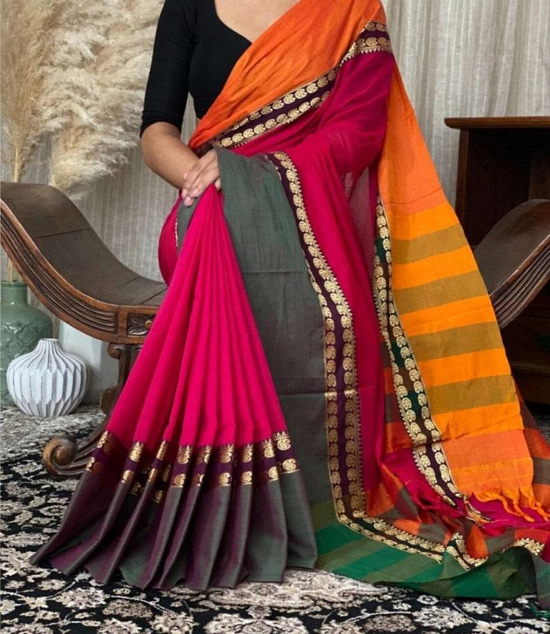 Ethnics Land Traditional Narayanpet Handloom Cotton Saree with Running Blouse Piece