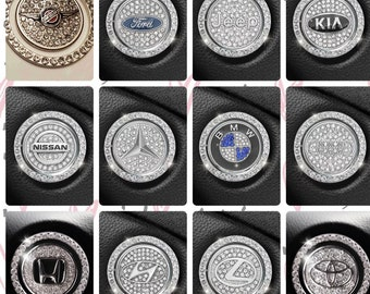 Push To Start Button Rhinestone Crystal Ring & Custom Car Emblem for Ignition | Luxury Car Décor Accessory | Multiple Car Models Available