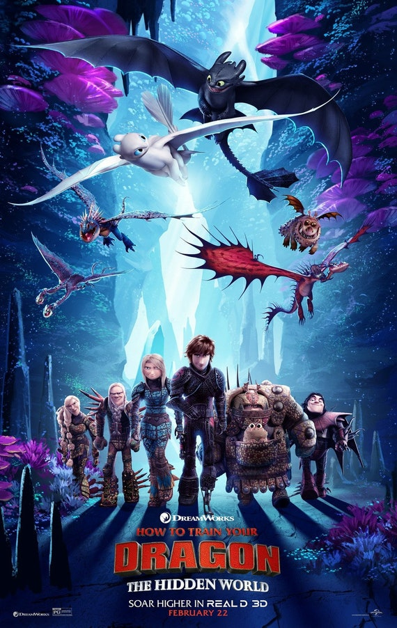 """How to Train Your Dragon 3 The Hidden World Movie Poster 24x36/""""//60x90cm"""