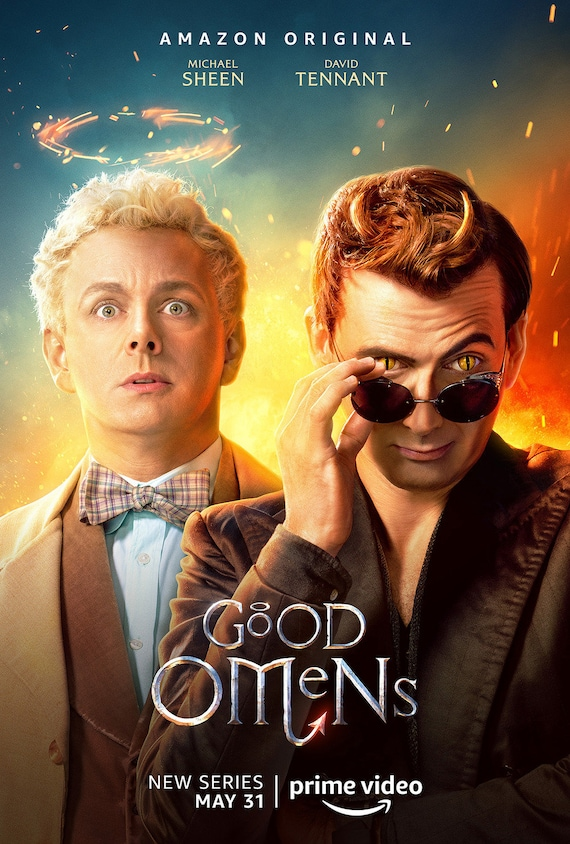 Good Omens David Tennant Michael Sheen TV Series 5 Silk Canvas Poster 24x36/'/'