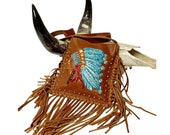 Raviani Western Crossbody Brandy Leather Bag W Hand Painted Indian Chief Fringe Silver Studs