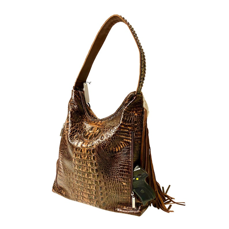 Raviani western Concealed carry hobo In brown /& White Speckle hair on leather W Fringe Made in USA