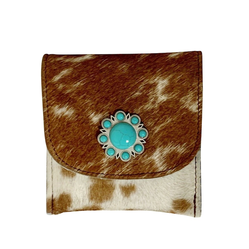 Raviani Flat WalletCoin Bag In Brown Speckle Hair On Cowhide Leather WConcho