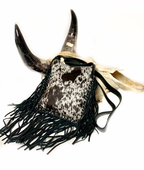 Raviani Fringe Cross-body Bag Speckle Hair On Brown Leather W Silver Studs