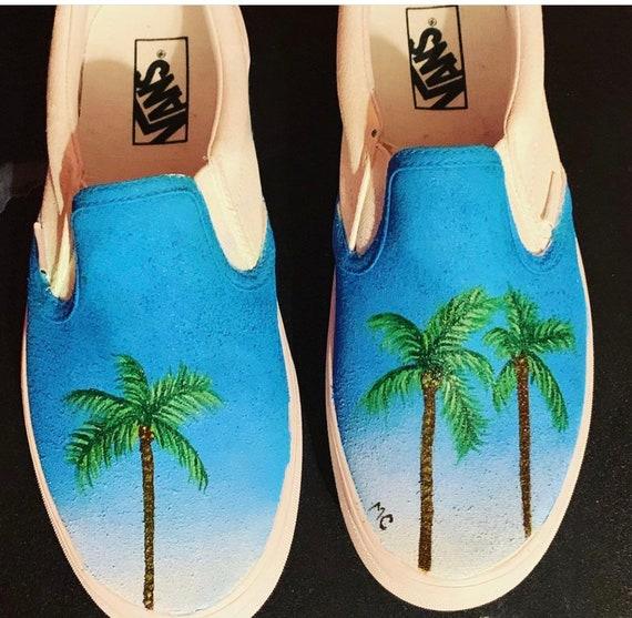 Custom Painted Palm Tree Vans   Etsy