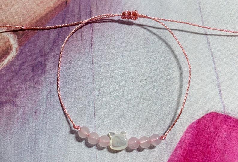 Dainty MOP cat /& rose quartz bracelet adjustable bracelet