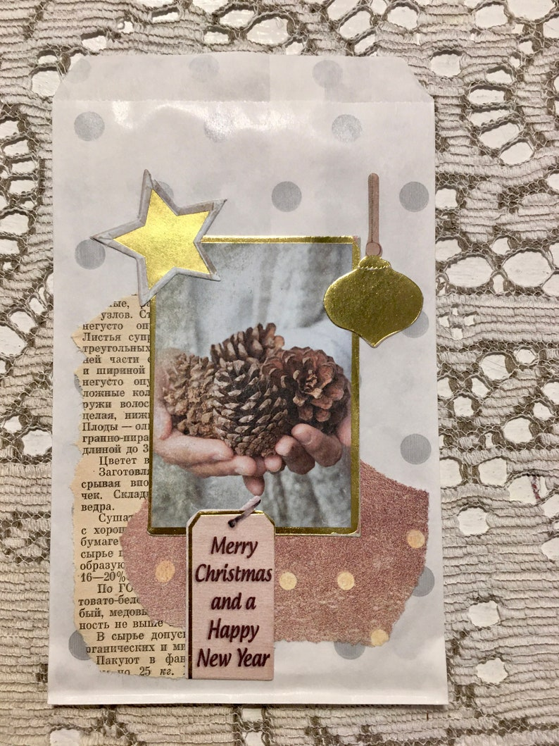 Hand Decorated Christmas Mini Gift Bags gift card size