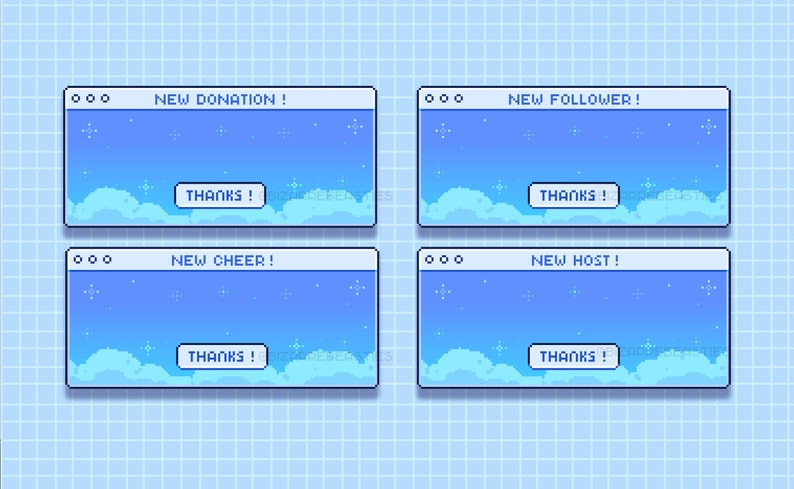 Raid Cheer Follower Pixel Art ~ New Subscriber Cute 6x Twitch Alerts Pack ~ Static Image Donation ~ Winter Snowflakes Starry Blue Host