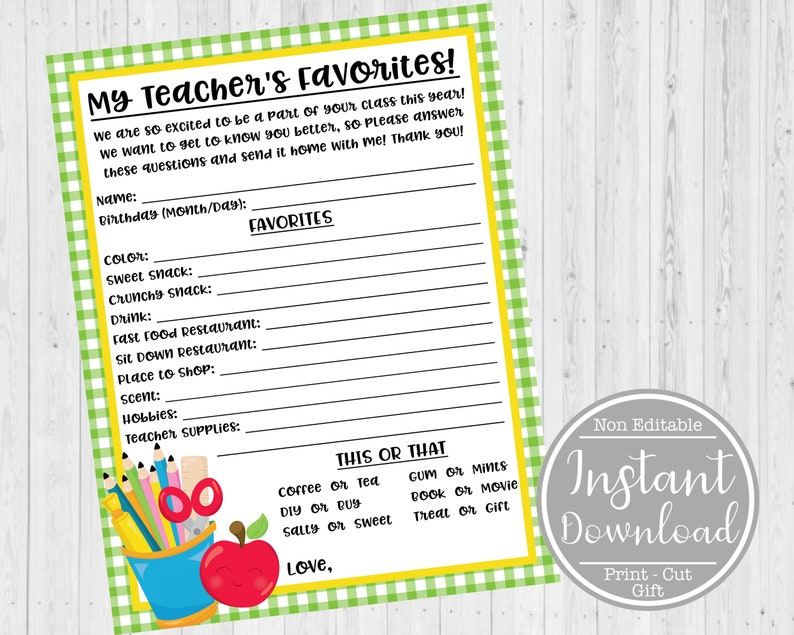 picture about Teacher Favorite Things Questionnaire Printable identify Prompt Down load - Instructor Appreciation Study Printable - Instructor Questionnaire - Instructor Study - My Favourite Components