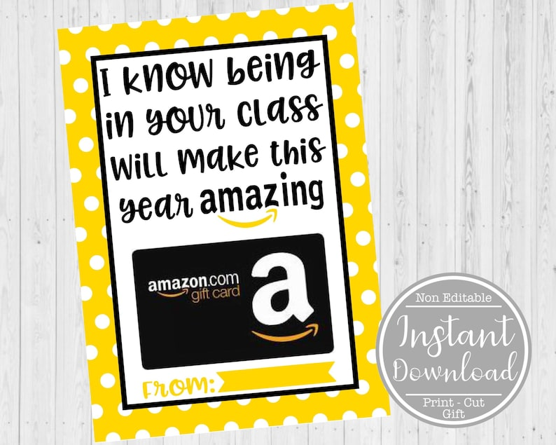 Teacher Appreciation Card Teacher Appreciation Gift Card Printable Teacher Gift Card Holder INSTANT DOWNLOAD Amazon Gift Card