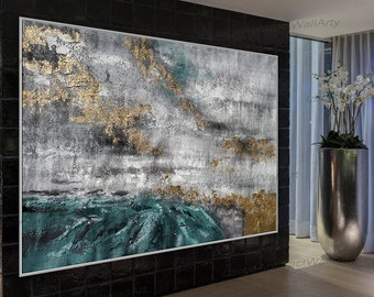 Extra Large Textured Framed Abstract Horizontal Acrylic Painting On Canvas Oversize Modern Texture Wall Art Green Gray White Gold Leaf