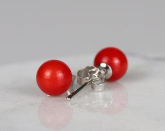 Ohrringe knallrote Kugeln in Silber Color für Damen und Mädchen
