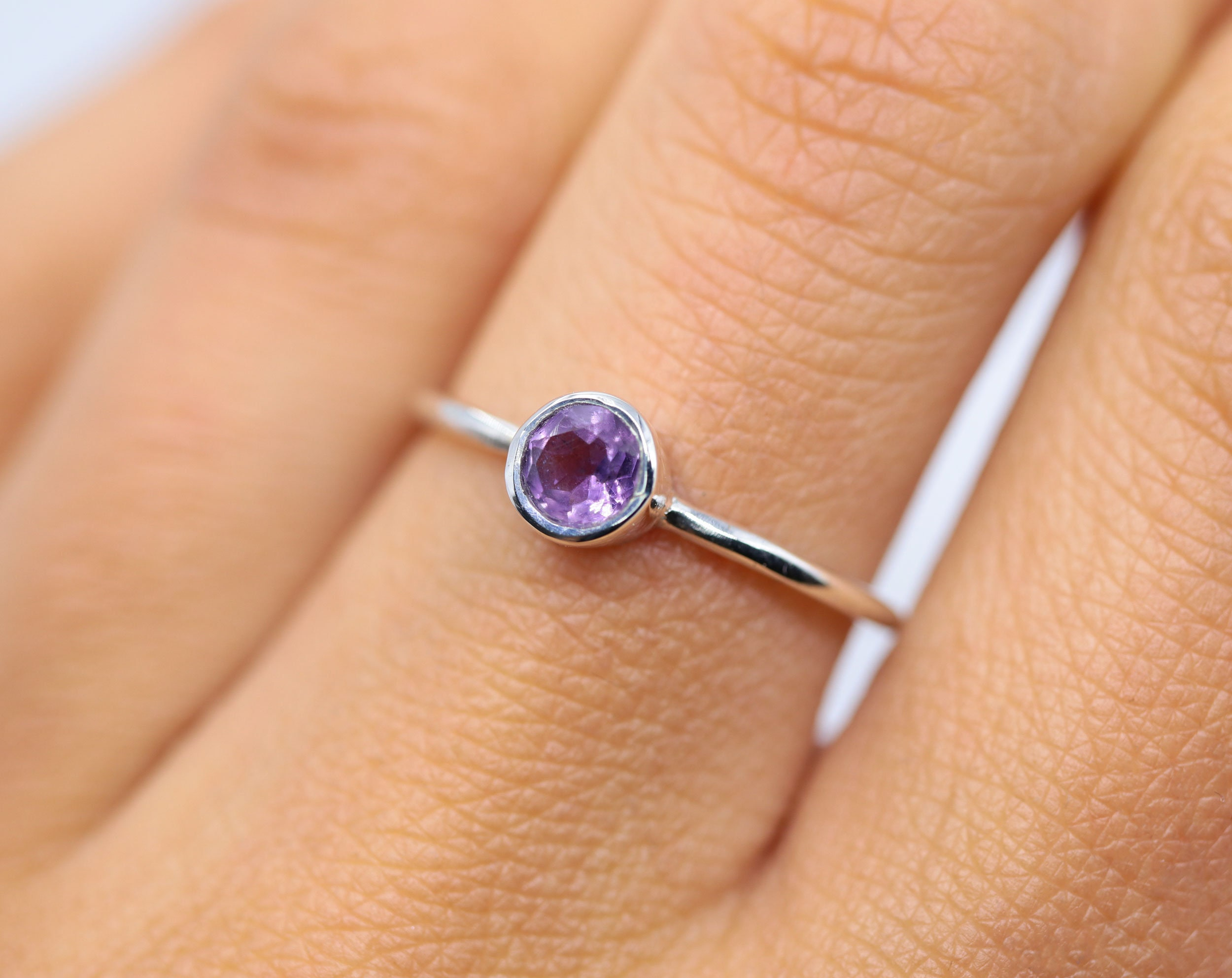 Natural amethyst ring, silver ring, womens ring, amethyst jewelry, simple  ring, birthstone ring, thin ring, february ring, s21 ring