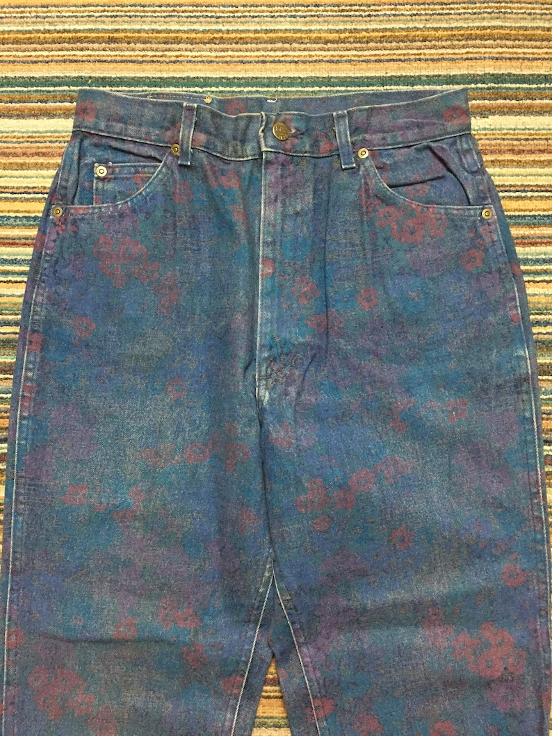 vintage 90s LEE RIDERS painting floral multicolor abstract paint pop art andy warhol style size 30