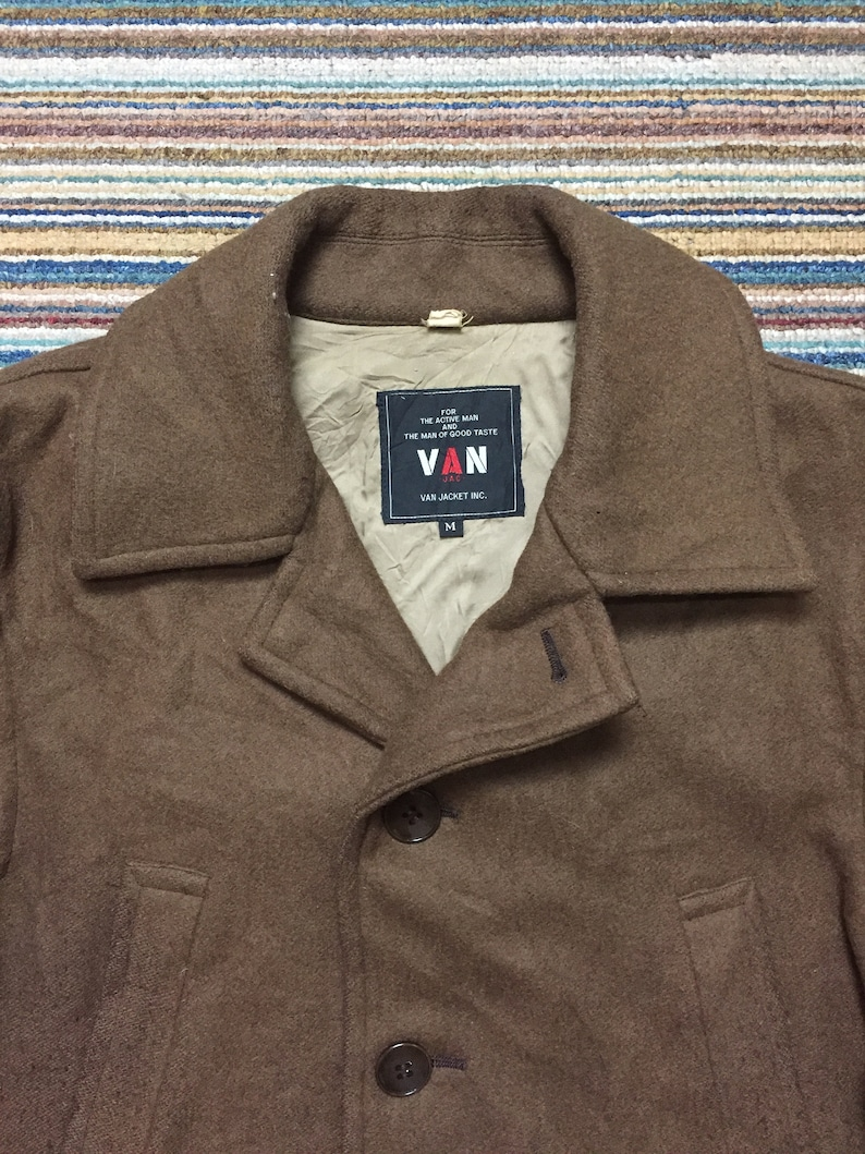 rare 70s VAN JAC jacket for the active man and the man of good taste wool button brown jacket designer vintage fashion size M L