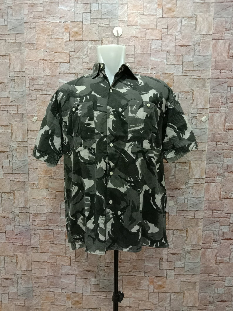 vintage 90s homless camo army military oxford button down shirt streetwear size m