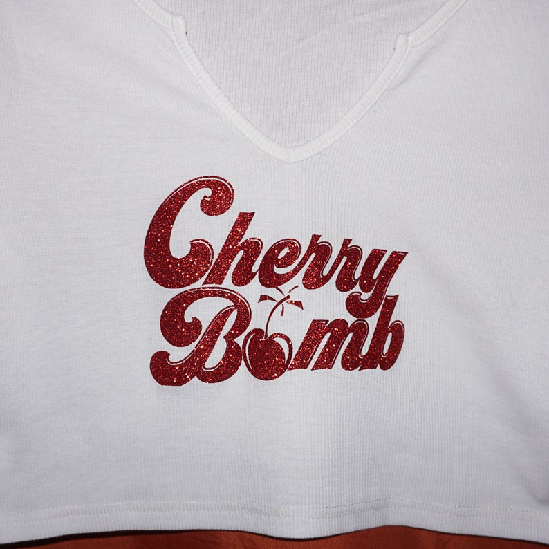 Notched Neck Ribbed Crop Top with a Cherry Bomb Vintage Inspired Graphic