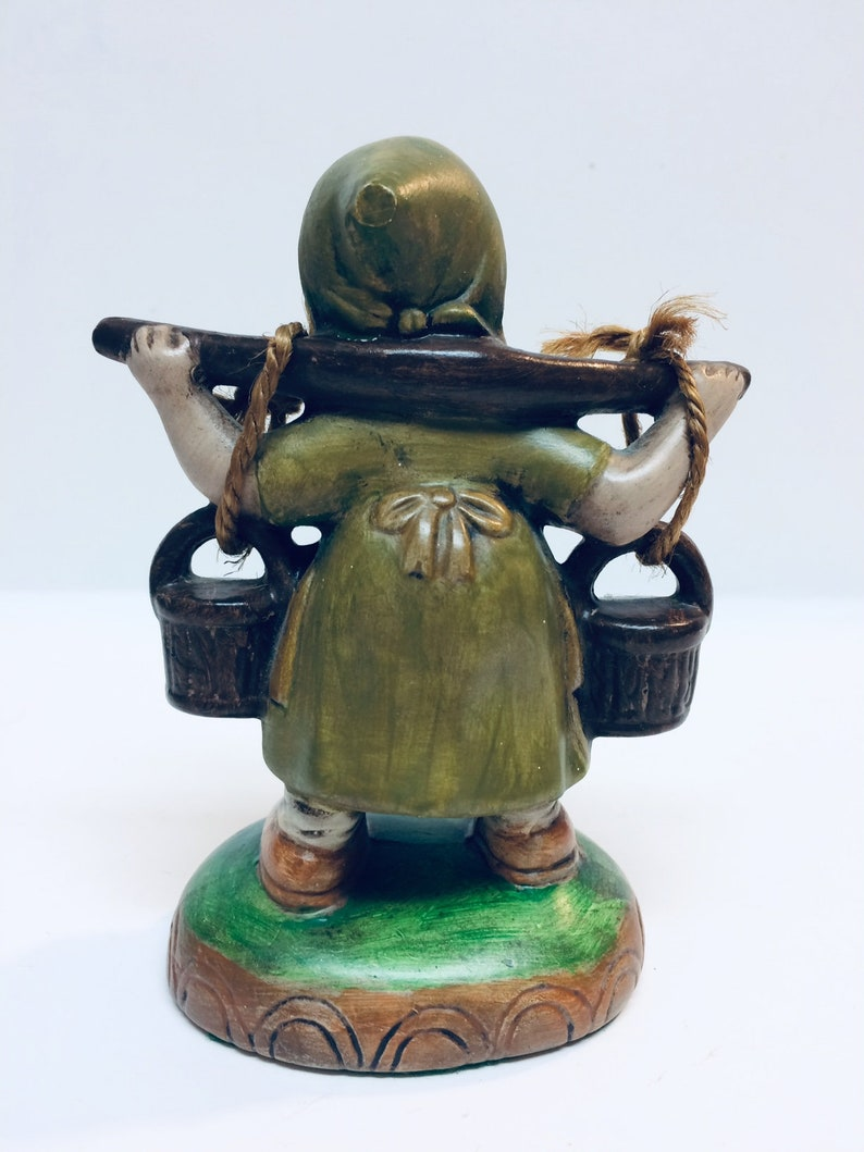 Vintage Hand Painted Ceramic Dutch Girl Carrying Yoke with Baskets Figurine