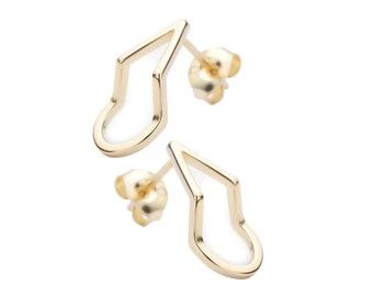 Gold Teardrop Earrings, Stud Earrings, Minimalistic Earrings, Gold Earrings,Pearshaped Earrings,Open Earrings, Small Earrings,Heart Earrings