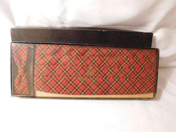 Wickbury LTD Cummerbund and Bow Tie Plaid Vintage