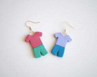shirt + shorts earrings   Polymer Clay
