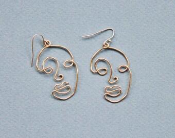 Wire Face Earrings