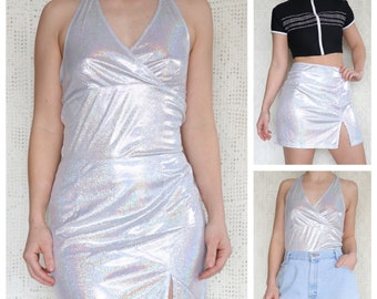 515fb760 Vintage 1990s Metallic 2-Piece Halter + Mini Skirt
