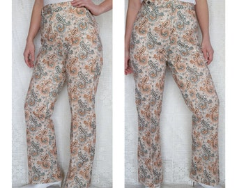 29b40989 Vintage 1970s Paisley Flares w/ Pockets