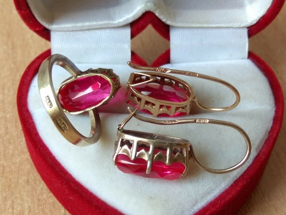 SET Vintage RING 875 earrings 925 red stone SILVER soviet star stamp ussr