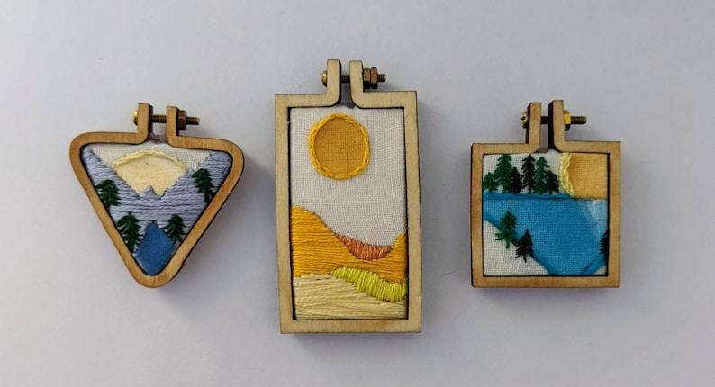 Mini Landscape Embroidery Magnet