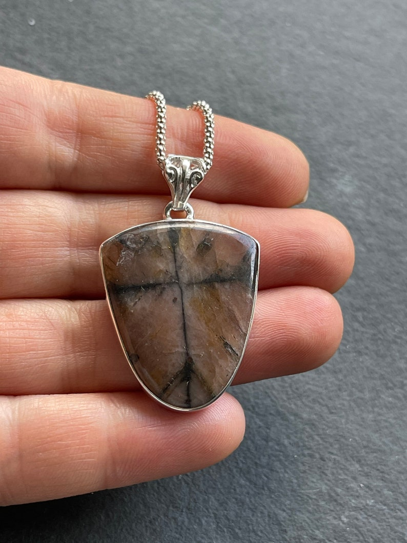 Cross Stone solid sterling silver pendant necklace Natural Unique Chiastolite