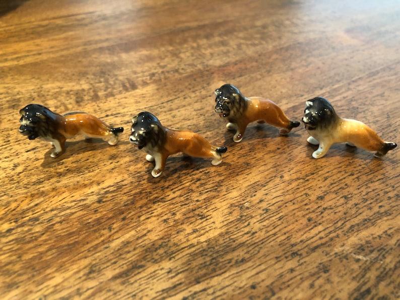 Vintage Miniature Bone China Hand painted Lion Figurines Set of 4