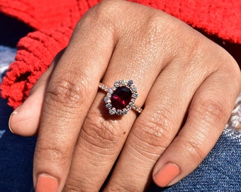 Anniversary Ring,925 Sterling Silver Ring,Typical Handmade Ring Natural Garnet Ring Gift For Her,Gift Ring Engagement Ring Wedding Ring