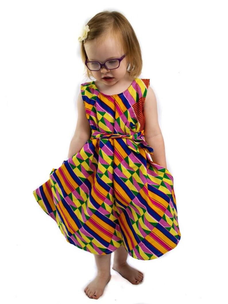 African Ankara Print Baby Girls/' Dress Fully-Lined Hand-Sewn 100/% Cotton