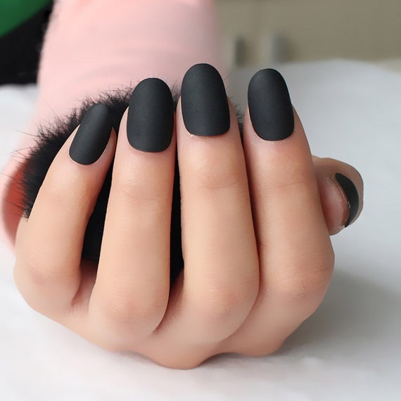 Black full cover matte, matte nails, black matte, fake nails