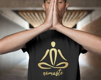 Mans Evolution T-Shirt® present gift.Brand new YOGA MEDITATION ape - Black