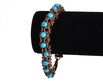 Turquoise and Black Bracelet Toggle Bracelet Turquoise Chainmail Lightweight Unique Chain Bracelet Chainmail Jewelry Chainmail Bracelet