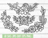 Cactus SVG, Floral Border svg, Succulent svg, Floral Frame Svg, Svg Files for Cricut, Cut File, Plant svg, dxf files for laser, eps png
