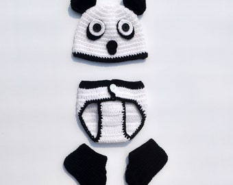 ae49d227f Panda Newborn Crochet Costume, Photography Prop, Knit Baby Halloween Party  Costume Set, Baby Panda Hat And Diaper Cover, For A Girl Or A Boy