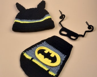 a9655a69a Newborn Crochet Batman Costume, Photography Prop, Knit Baby Halloween Party  Costume Set, Batman Hat, Cape and Mask, For A Girl Or A Boy