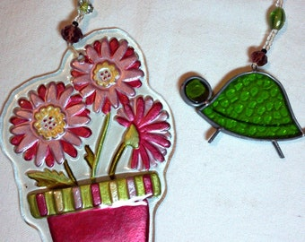 2 suncatchers pot of flowers turtle, glass beads ready to hang, glass flop flops, one-of-a-kind, American artist original design wall decor