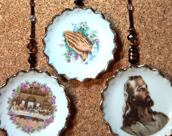 3 ceramic plates strung with glass beads, Christian theme - Jesus, praying hands, and The Last Supper, unique religious art, ready to hang