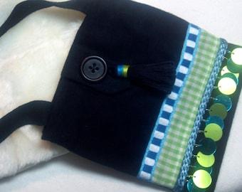 Small fabric bag, wear like necklace, gingham checks 60's spangles trim, medicine pouch bag, black green blue original design, one of a kind