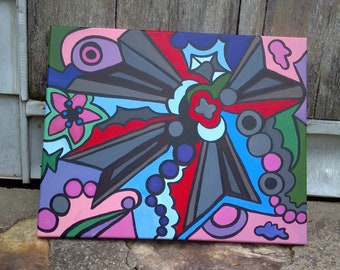 Windmill, original painting fine art colorful abstract, American artist, colorful stretched canvas hippie vibes one-of-a-kind bold graphic