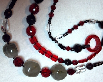 3 Bead necklaces handmade in the USA original design one-of-a-kind red & black set faceted crystals quartz nuggets dainty gothic no plastic