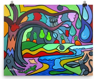 Cycle of Life Print, bright organic shapes, promotes hydration healthy eating, great for children's room, art for children, art for school